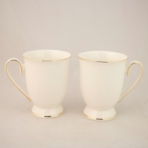 White Gold Footed Mug, Set of 4