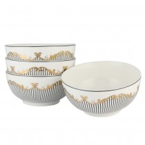 Bridge Black Soup Bowls, Set of 4