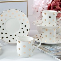 Polka dots Gold  Demi Cups and Saucers, S/4 Gift Boxed