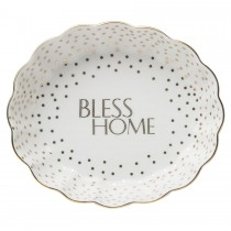 "Metallic Oval Trinket Dishes ""BLESS HOME"" 2 Piece Set"