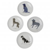 4 asst  Gold Leash Black Dogs Appetize Plates, Set of 4