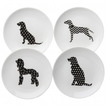 4 asst  Gold Collar Black Dogs Appetize Plates, Set of 4