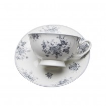Grey Rose Tea Cups and Saucers, Set of 4
