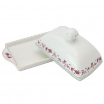 Pink Rose Blue Butter Dish