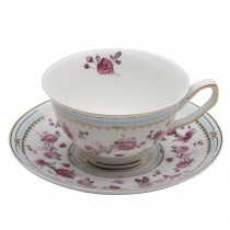 Pink Rose/Blue Tea Cups with Saucers, Set of 4