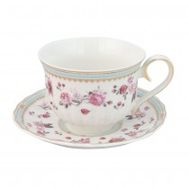 Pink Rose/Blue Lattee  Cups with Saucers, Set of 2