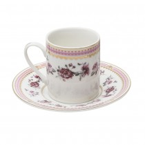Pink Rose/Pink Espresso Cups and Saucers, Set of 4. Boxed