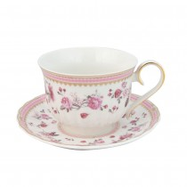 Pink Rose/Pink Lattee  Cups with Saucers, Set of 2