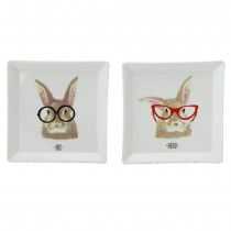 """His"" and ""Hers"" Bunny Trinket Tray, 2 pc Set. Boxed"