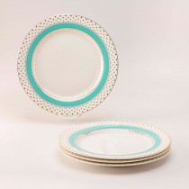 Turq Gold Pin Dot Salad Plate, Set of 4