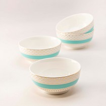 Turq gold Pin Dot Cereal Bowl, Set of 4
