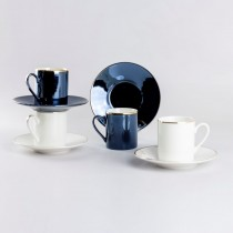 Black  White Gold Espresso Cups and Saucers, Set of 4 Boxed