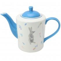 Grey Bunny Blue Teapot