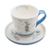 Grey Bunny Blue Cups & Saucers, Set of 4