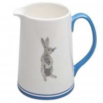 Grey Bunny Blue Pitcher