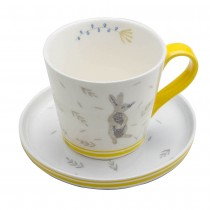 Grey Bunny Yellow Cups & Saucers, Set of 4
