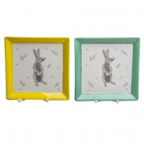 Grey Bunny Yellow/Mint Set of 2 SQ dish