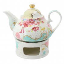 Pink Rose Dots Teapot with Warmer 2 Piece Set