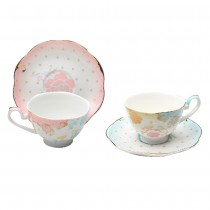 Pink/Blue Rose Dots Assorted Demi Cups and Saucers, Set of 4