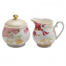 Pink Rose Dots Sugar and Creamer Set