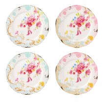Pink/Blue Rose Dots Assorted Scallop  Dessert  Plates, Set of 4