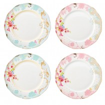 Pink/Blue Rose Dots Assorted Scallop Dinner Plates, Set of 4