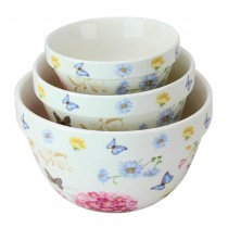 Butterfly and Hydrangea 3 Piece Mixing Bowl Set