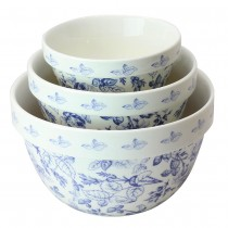 Blue Rose 3 Piece Mixing Bowl Set
