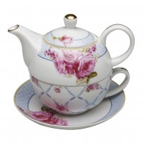 Blue Pink Chic Rose 4 Piece Tea for One Set