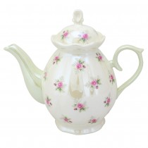 Satin Shelley Rose Bud Mint Teapot
