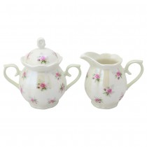 Satin Shelley Rose Bud Mint Sugar Creamer Set