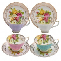 4 Assorted Colors Rose Bouquet Demi Cup Saucer, Set of 4. Boxed