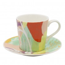 Tokyo Orange Cups and Saucers, Set of 4