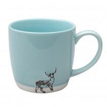Organic Mint Texture Deer Mugs, Set of 4
