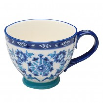 Blue Texture  Ceramic Latte Cups, Set of 4