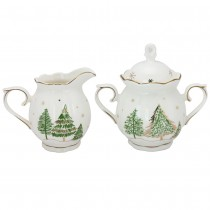 Green Pine Tree Sugar and Creamer Set