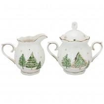 Green Pine Tree Sugar and Creamer Set