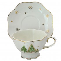 Green Pine Tree Tea Cups and Saucers, Set of 4