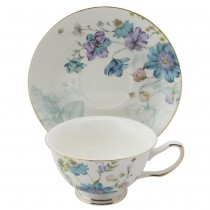 Blue Wild Floral Cups wiht Saucers, Set of 4
