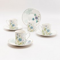 Blue Wild Floral Demi Cups wiht Saucers, Set of 4 Gift boxed