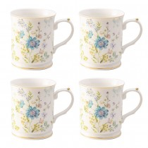 Blue Wild Floral Coffee/tea Mugs, Set of 4