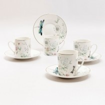 Dragonfly Garden Demi Cup Saucer, Set of 4 gift boxed