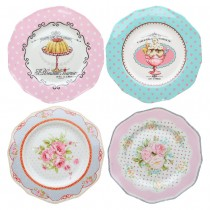 4 Asst Tea Party Dessert Plates, Set of 4