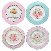 4 Asst Shabby Rose Dessert Plates, Set of 4