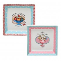 2 Asst Rose Sweetie Square Dessert Plates, Set of 2