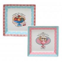 2 Asst Rose Sweetie Square Dessert Plates, Set of 2