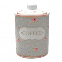 Ashely Rose Grey Canister -Coffee