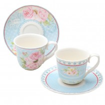Mint Ashley Rose Espresso Cup Saucer, Set of 2. Gift Boxed