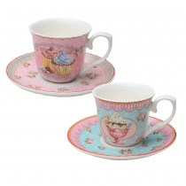 Pink Sweetie Espresso Cup Saucer, S/2 Boxed