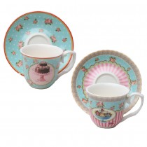 Mint Sweetie Espresso Cup Saucer, S/2 Boxed